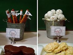 Bucket of balls and flad sticks, Golf party ideas for food-B. Lovely Events