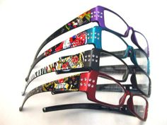 ef40552c8463 Fun and funky women s reading glasses with rhinestone dotted frames  available in four colors from Reading