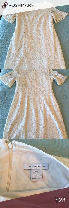 Lace Cream Dress Liz Claiborne Lace Cream Dress EUC zipped closure back, hits above the knee (I'm 5'8) Liz Claiborne Dresses