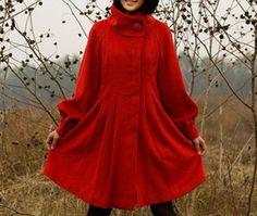 kekebo style wool coat dress woollen coat cashmere coat by kekebo, $109.99