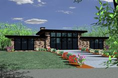 Modern Style House Plan - 2 Beds 2 Baths 1439 Sq/Ft Plan #509-31 Exterior - Front Elevation - Houseplans.com