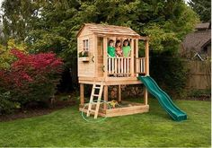 Children of all ages, especially pre-schoolers, love imaginary play. With room for a sandbox and slide, they'll never tire of our elevated 6×6 Little Squirt Playhouse. Let the games begin!