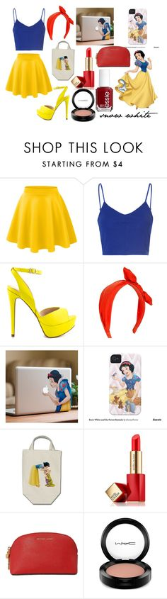 """snow white look"" by cherlinanelemans on Polyvore featuring LE3NO, Glamorous, ALDO, Disney, Estée Lauder, Michael Kors, Essie and MAC Cosmetics"