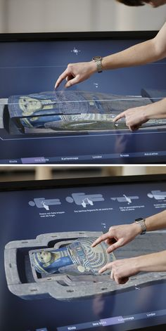 Museum invites visitors to unwrap a mummy virtually. I used this pin to showcase the type of technology that may be able to enhance our nursing learning labs- interactive simulators anyone? Table Interactive, Interactive Exhibition, Interactive Media, Interactive Installation, Museum Exhibition Design, Exhibition Display, Design Museum, Web Banner Design, Web Design