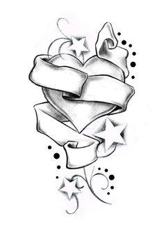 Heart Stars and Banner by Boise of Lowrider INK by on DeviantArt Tattoo Design Drawings, Art Drawings Sketches Simple, Pencil Art Drawings, Love Drawings, Easy Drawings, Drawings Of Hearts, Cool Heart Drawings, Love Heart Drawing, Tribal Drawings
