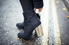 gold heel boots, Zara <3