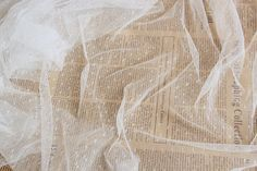 2 yards White Lace Fabric Little Dots Veil Lace by ElegantLaceDIY