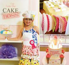 """Sweet """"Cake Boss"""" Baking Birthday Party // Hostess with the Mostess® Baking Birthday Parties, Baking Party, Girl Parties, Cake Baking, Sweet Cakes, Cute Cakes, Cupcake Party, Party Cakes, Bolos Cake Boss"""