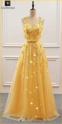 Gorgeous Tulle Jewel Neckline A-Line Prom Dress With Beadings & Handmade Flowers
