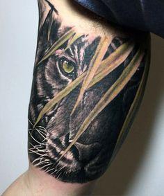 Bicep Tiger Tattoos On Man