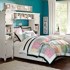 Girls' Beds, Girls' Bedroom Sets  Girls' Headboards |  could make one with bookshelves