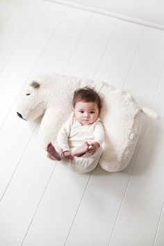Shop the super cute Nanami Nanook Feeding Pillow in White Polar Bear! natural unbleached cotton cover - can be used for baby too! So Cute Baby, Baby Kind, Cute Kids, Cute Babies, Little Babies, Little Ones, Feeding Pillow, Foto Baby, Nursing Pillow