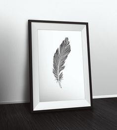 Minimalist Feather Wall Art Print 24 x 36 by NordicPrintStudio