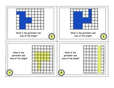 Includes 24 task cards for students to find basic area and perimeter on a grid. Also includes some odd shapes to estimate and word problems.