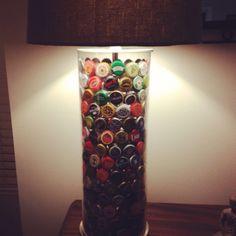 Beer bottle cap lamp.