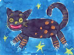 Folk Art Cat painting. #artprojectsforkids