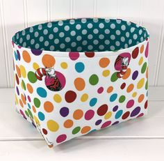 Storage Organization, Organizer Bins, Fabric Storage Baskets, Baby Nursery Decor, Baby Hats, Childrens Books, House Warming, Dots, Handmade Gifts