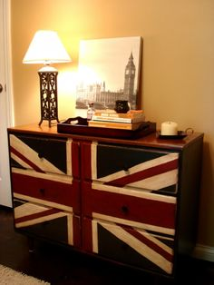 It is a dresser painted like the british flag.  I NEED THIS.