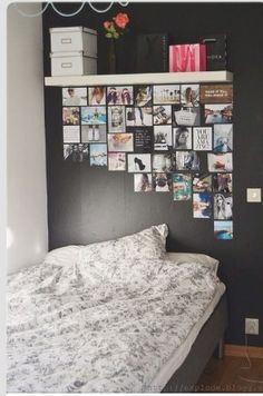 Teenages bedroom- loving the photo layout