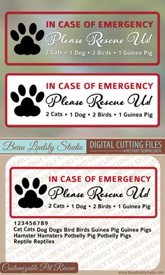 Customizable Emergency Pet Rescue SVG Cutting File to create Window Decals, Door Decals, Window Stickers or Door Stickers to notify fire or other rescue teams that you have a pet or pets in the home. It's the best way to say Please Save My Pet. The listing comes with a CSV File, a DXF Vector File, and a PNG Image File. It has a variety of animals and all numbers so that you can customize it to your home. By Beau Lindsly Studio