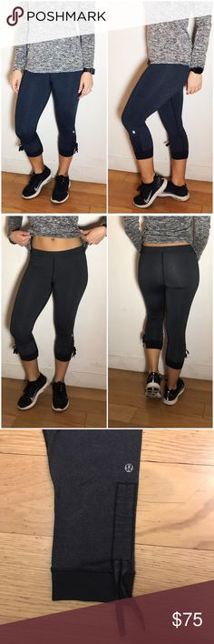 """Lululemon Ankle Tie Crops Lululemon Ankle Tie Crops  -No tag/size dot but size 4. -Can be tied up at ankles. -Waist (laying flat): 13"""" -Inseam: 20"""" -Excellent condition, minimal fading on lulu logo.  NO Trades. Please make all offers through offer button. lululemon athletica Pants"""