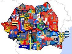 OC: Harta regiunilor istorice cu emblema fiecarui judet (sorry for double post) : Romania