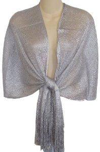 Sheer Silver Fishnet & Lurex Fringed Evening Wrap Shawl for Prom Wedding Formal