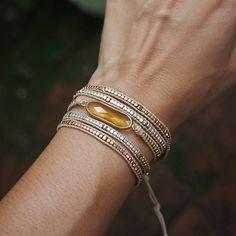 5 times Wrap Bracelet Black Crystal beaded mix Boho