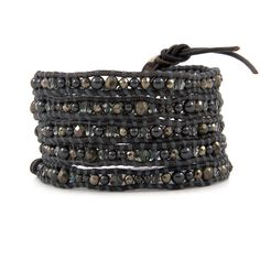 The Black Pearl Mix Wrap Bracelet on Natural Grey Leather by jewelry designer Chan Luu