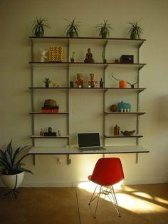 Elfa, desk, office, wall mounted shelving, shelf