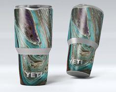 Swirling Dark Acrylic Marble - Yeti Rambler Series Cooler Drinkware Bottle Skin/Decal Kits