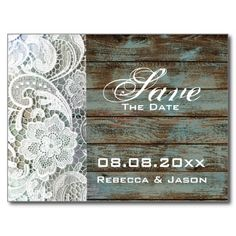 vintage wood lace country wedding save the date postcard http://www.zazzle.com/themeweddingboutique*