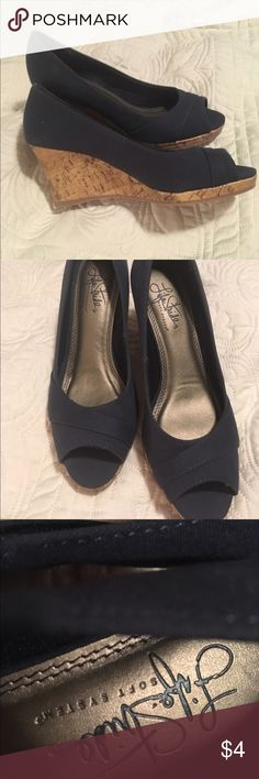 Navy Blue Espadrilles Wedges Navy Blue peep-toe heels. Never been worn except to try on. Size 5.5 Life Stride Shoes Wedges