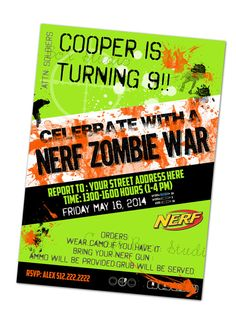 Customized Nerf Zombie Party Invitation by CraftBoxStudio on Etsy