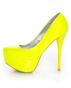 Qupid Parallel 09 Neon Yellow Platform Pumps, Love it! Neon High Heels, Neon Pumps, Mellow Yellow, Neon Yellow, Me Too Shoes, Yellow Pumps, Next Shoes, Cute Sandals, Blue Nails