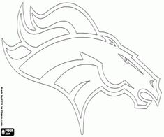 Free Denver Broncos logo, american football team in the AFC Western Division, Denver, Colorado coloring and printable page.