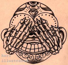 """三猿 """"See No Evil of Three wise monkeys"""" on Black colored Pencil on Paper. Dream Tattoos, Future Tattoos, Tattoo 2017, Three Wise Monkeys, Tattos, Blind, Colored Pencils, Art Ideas, Tattoo Designs"""