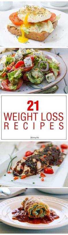 21 Weight Loss Recipes! #weightlossrecipes #menuplanning #totalbodytransformation