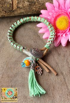 Friendship lucky leather bracelet in Green by DazzlingGypsyQueen, €27.95