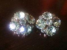 Weiss Seafoam Green Crystal Clip-On Earrings by LottieDottieVintage on Etsy