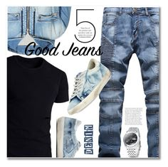 """Untitled #2706"" by svijetlana ❤ liked on Polyvore featuring Balmain, Golden Goose, men's fashion and menswear"