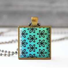 FREE SHIPPING Turquoise necklace Flower Photo charm necklace Square Spring summer jewelry Gift for her 5054-5 by StudioDbronze