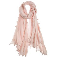 Chan Luu Pom Solid Cotton Scarf ($155) ❤ liked on Polyvore featuring accessories, scarves, sciarpe, cotton shawl, sheer shawl, cotton scarves, chan luu and wrap shawl