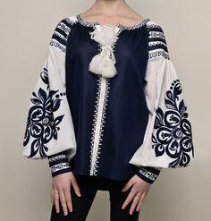 Ukrainian embroidered blouse Vyshyvanka for women's Black&White Boho shirt Bohemian Style Chic national Ethnic Folkloric gift for girlfriend Folk Fashion, Ethnic Fashion, Hijab Fashion, Fashion Outfits, Fashion Boots, Embroidered Clothes, Embroidered Blouse, Embroidery Dress, Bohemian Style