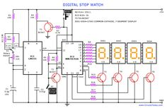 A digital stop watch or digital timer circuit schematic built around timer IC LM555 and 4-digit counter IC MM74C926 with multiplexed 7-segment LED display
