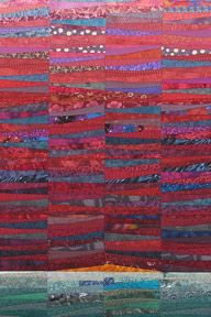 Another quilt I have not thought of for a while. Red sky. I do love the intensity of the colors with the hint of sunrise and the contrasting teal of the land. The Quilts of Ann Brauer: Available works