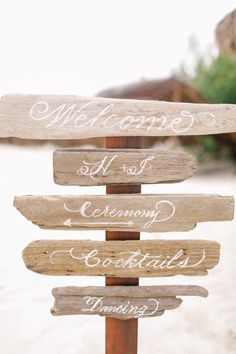 Brandon Kidd Photography | Viceroy Riviera Maya Destination Wedding | Playa Del Carmen | Mexico | LVL Weddings & Events | Ceremony Decor | Driftwood Ceremony Sign | Welcome | Beach Wedding