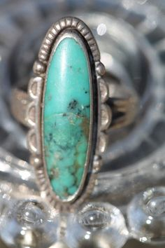 VINTAGE SOUTHWESTERN TRIBAL BELL TRADING POST STERLING SILVER TURQUOISE RING #navajo #turquoise #ring