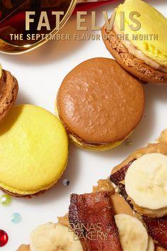 Chunky Peanut Butter, Banana and Bacon! a-hu! Dana's Bakery #macarons are gluten free, kosher & shipped fresh nationwide. To order visit: www.danasbakery.com.