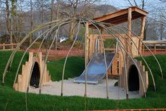 Tunnels lead in and out of the living willow dome Playground Build & Design | Natural Child Play | Earth Wrights Ltd